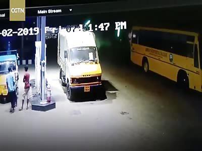 (Repost) Brave men push burning truck away from gas station