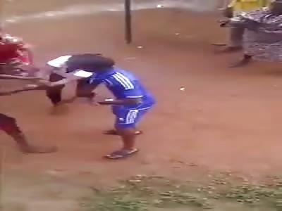 brully beaten in village
