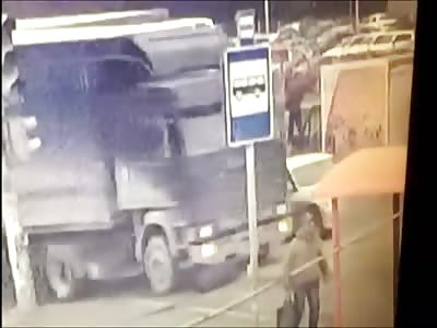 Elderly Man Destroyed by Huge Truck