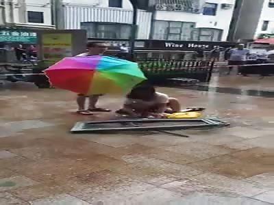 Kid crushed by fallen window (aftermath)
