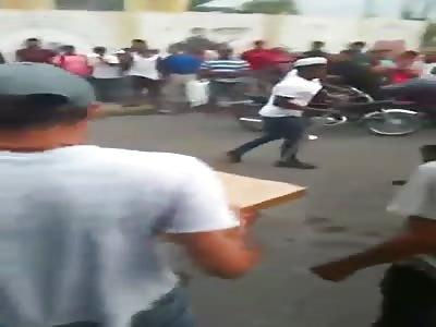 Thief Given a Stick Massage
