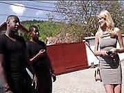 Thin Blonde Strolls into Black Neighborhood....