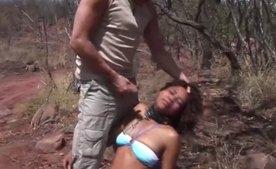 Crazy Tourist Abuses Hot Ebony Girl on Safari Tour