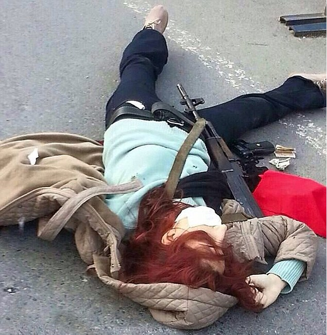 Lady Assassin with Machine Gun Shot Dead