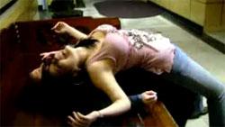 Drunk girl slams her head against the wall