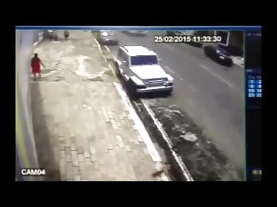 Bus Has Horrible Accident Kills Pedestrian Walking .... (3 Angles)