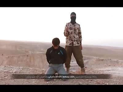 French Speaking ISIS Terrorist Executes Man on a Mountain and Kicks His Body Off