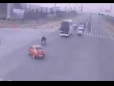 Man on a Rickshaw Bike Squished to Death by Big Dump Truck
