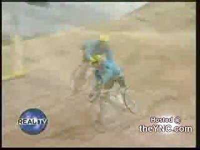 One Legged Mountain Biker Crashes