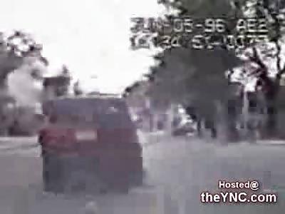 Unlucky Pedestrian gets hit by a Car then Run Over by a Police Cruiser