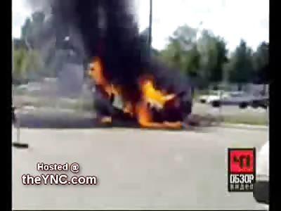 Exploding Bus Almost Kills Cameraman