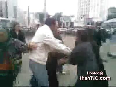 Big Bulgarian Woman gets Jumped on the Street