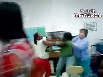Nice White School Teacher gets in Between Two Crazy Black Students
