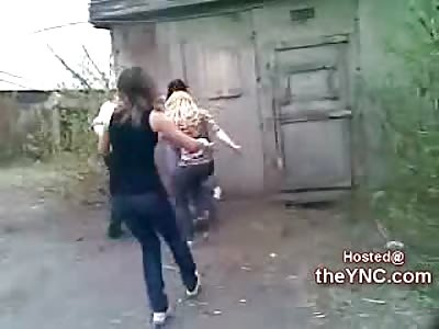 Bad Ass Russian Girls jump a Cowering Female [0:23x240p]->