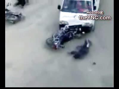 Holy Shit! Crazy Ambulance Drivers Run Over 2 Bikers