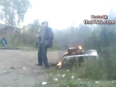Drunk Showoff Russian Burns his Pants Off