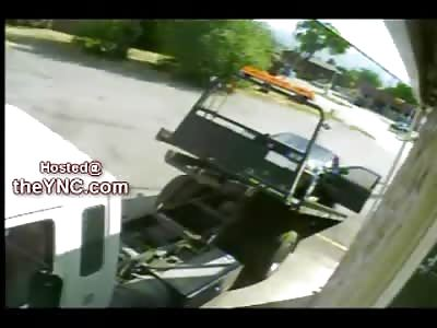 Worlds Worst Tow Truck Driver Runs Himself Over