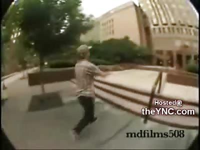 Crazy Skater Attacks Black Businessman outside of Office Building