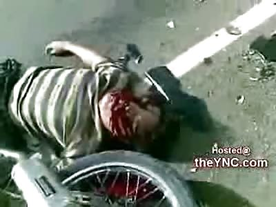 Dying Twitching Agonal Biker Killed alongside 2 Friends