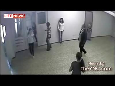 School  Teacher Beaten by her Psycho Boyfriend in Front of her Students