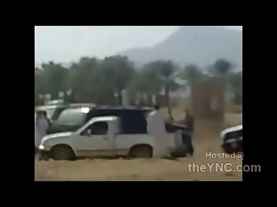 Arabic Police Bum Rush Lunatic with a Gun About to Kill Everyone