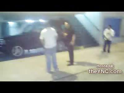 Double Bitch Slap KO leaves Man Dead Looking in a Parking Garage