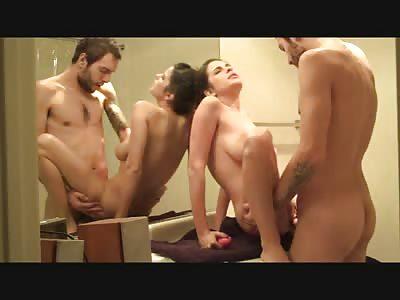 Busty amateur slut gets fucked standing up