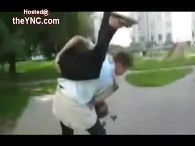 DAMN! Girls Nose Broken on Pavement by Drunken Russian Boyfriend