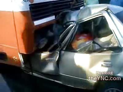 Bus Removed off of Females Car after She Rear Ended It (Santa Cruz Bridge, Argentina)