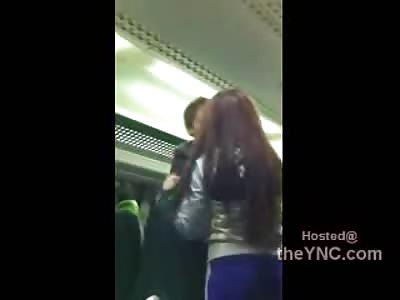 Crazy Ass British Chick Goes Berserk on a Train.... Regulates on Everyone