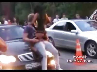 Girl at a Car Show Damn Near Fucks a Guy on the Hood of His Car
