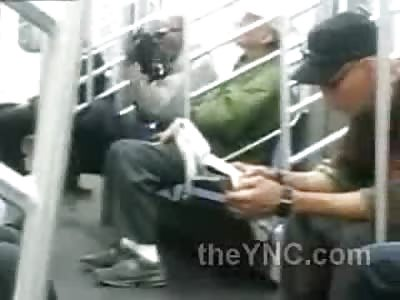 WTMF?!?! LOLOL Guy Licks Shoes on Subway Like a Boss