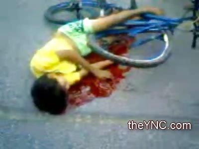 Kid lying in his Own Blood Agonal  Breathing before Death