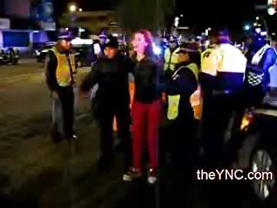 Semi Insane Drunk Woman takes on Entire Police Squad