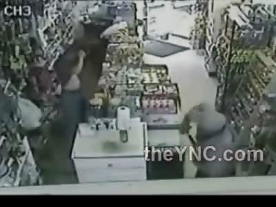 Derranged Man Attacks Clerk with Chemical Spray