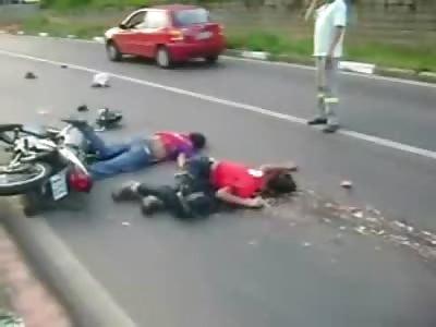 Two Splattered Bikers Brains thrown onto the Street