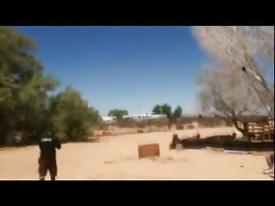 Stunt Motor Biker probably  Kills Himself in a Jump gone Horribly Horribly Wrong