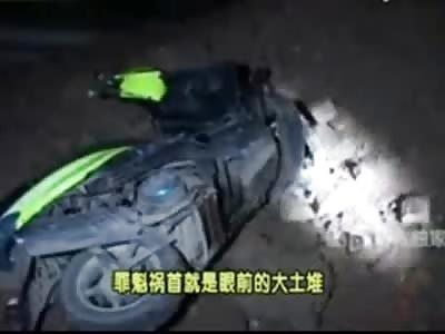 Female Accident Victim Still Alive FUBAR'd on the Street
