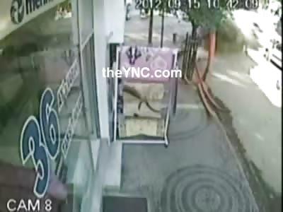 Bus comes onto the Sidewalk and Kills Random Man Strolling down the Street