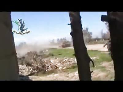 FSA Fighter throws a Grenade down a Tank Barrel