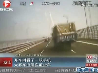 Bus Driver Checks his Phone, Tragically Crashes Bus.....(Three Camera Angles)