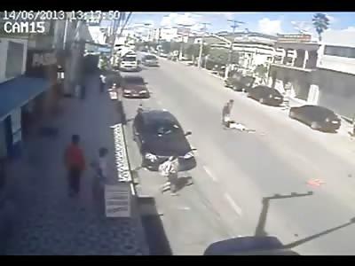 Unlucky Pedestrian is Annihilated by Speeding Motorycle