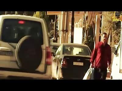 From the Movies..Bad Ass Calmly Walks Away as Bomb Detonates on Assad Bodyguards