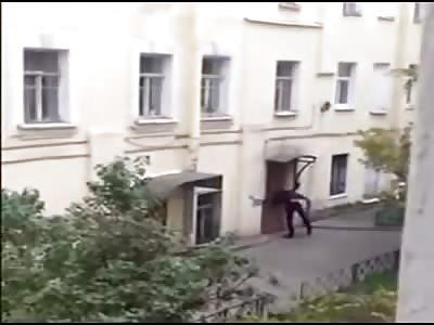 Drunk Man Uses his Head as a Battering Ram on Locked Door