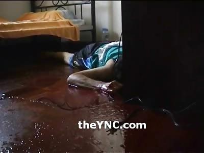 A Boys Bloody Suicide by Razor Blades in his Bedroom