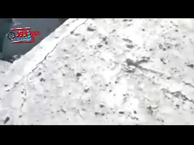 Child with Half Body Exploded still Alive under Blanket..Camera guy keeps Walking
