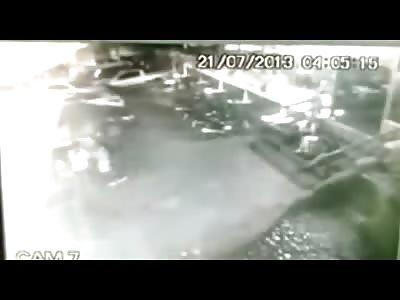Brutal Murder Caught on CCTV...Man in White Shirt Gets it Pretty Bad