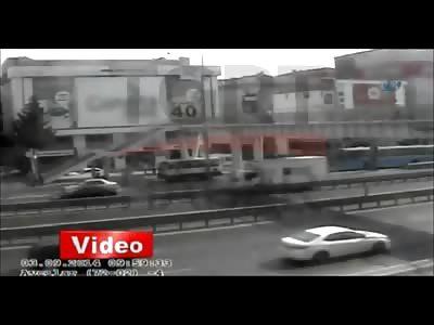 Crazy Video Shows a Truck Knocking Down an Overpass Crushing Pedestrians