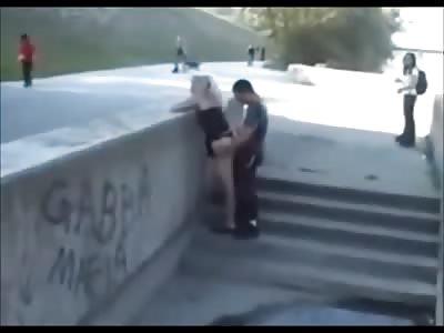 Dude Fucks His girl in a Public Skate Park