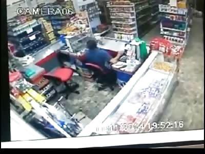 Store Clerk in the Blue Shirt is Blown away in this Violent 12 Gauge Murder